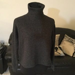 Forever 21 Ribbed Turtleneck Sweater Dark Gray